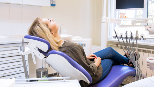 Relaxed woman in the dentist's chair